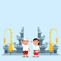 Enfants mignons de bande dessinée devant la porte du temple hindou de bali vecteur