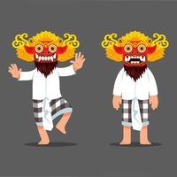 personnage de danseur masque esprit maléfique traditionnel balinais vecteur