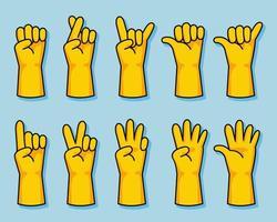ensemble de geste de main de dessin animé de gant en caoutchouc jaune vecteur