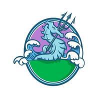hippocampe avec emblème ovale mascotte trident vecteur