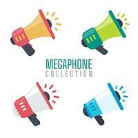 ensemble de mégaphone pour crier des annonces de promotion de produits aux clients. vecteur