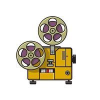 projecteur de film de film vintage rétro polychrome vecteur