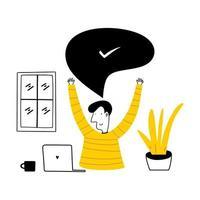 travail à domicile. un homme indépendant travaille derrière un ordinateur portable au travail de bureau à domicile. vecteur