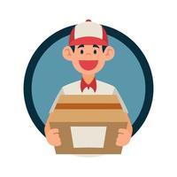 livreur porte un paquet avec sourire visage heureux vecteur