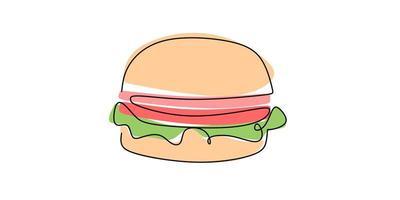 hamburger dessiné à la main en une seule ligne sur un fond blanc. vecteur