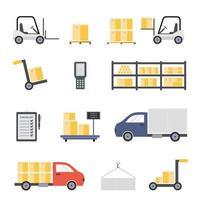 entrepôt avec personnel, bâtiment de stockage, étagères avec marchandises, déchargement de la cargaison. vecteur