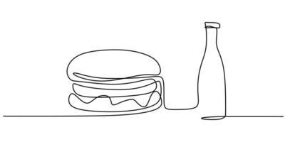 hamburger dessiné à la main en une seule ligne sur un fond blanc. Hamburger cheeseburger sandwich avec une bouteille de dessin au trait de soda vecteur