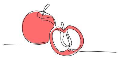dessin au trait continu de pomme. vecteur