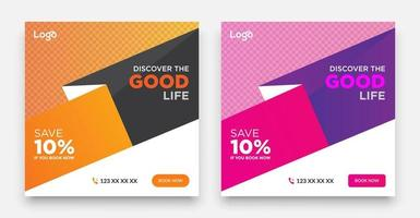 modèle de publication de médias sociaux de voyage avec un élément de conception de typographie cool et des couleurs dégradées à la mode avec des arrière-plans de vente et de remise. vecteur