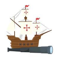 Navire de columbus avec conception de vecteur de télescope