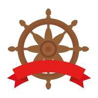 gouvernail de mer avec conception de vecteur de ruban