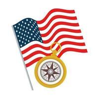 drapeau usa avec conception de vecteur boussole or