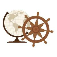 sphère du monde avec conception de vecteur de gouvernail