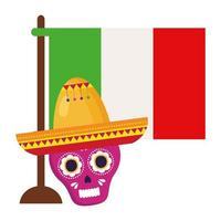 drapeau mexicain et crâne rose avec chapeau, en fond blanc