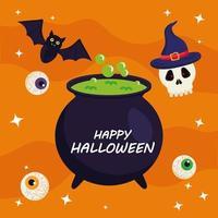joyeux halloween avec la conception de vecteur de bol de sorcière