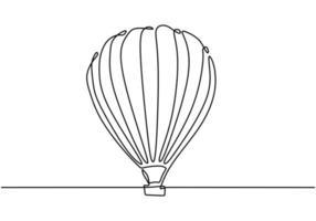 icône de dessin au trait continu ballon à air chaud. joyeuses fêtes avec ballon à air. vecteur