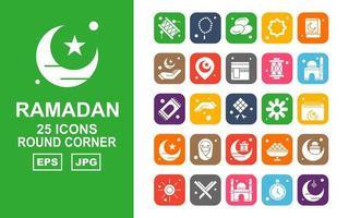 25 pack d'icônes de coin rond ramadan premium vecteur