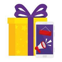 smartphone avec bannière mégaphone et conception de vecteur de cadeau
