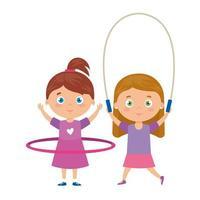 jolies petites filles avec corde à sauter et hula hula