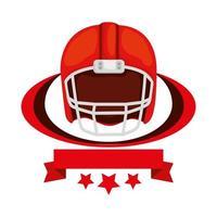 casque de football américain avec ruban et étoiles vecteur