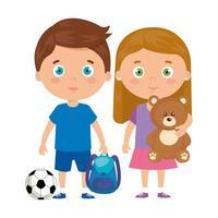 mignons petits enfants avec cartable et jouets