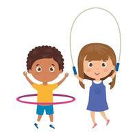 mignons petits enfants avec corde à sauter et hula hula