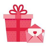 boîte-cadeau et icône isolé enveloppe