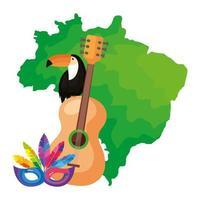 carte du brésil avec toucan et icônes traditionnelles
