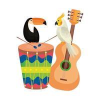 toucan avec perroquet et icônes traditionnelles