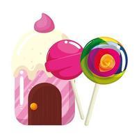cupcake house délicieux avec des sucettes vecteur