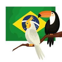 drapeau du brésil avec perroquet et toucan icône isolé vecteur