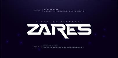 police de l'alphabet futur sport moderne
