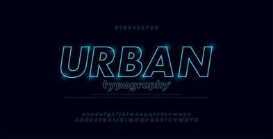 alphabet de polices abstrait urbain mince ligne