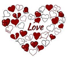 collection de coeurs. l'amour. jeu d'icônes de coeurs.