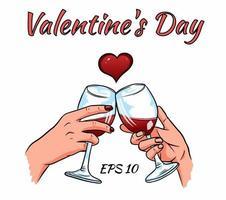 mains d'amoureux avec des verres de vin. carte de la Saint-Valentin. vecteur