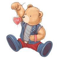 ours en peluche porte une veste à bascule tenant un coeur d'amour vecteur