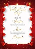 Conception de menu décorative pour la Saint-Valentin