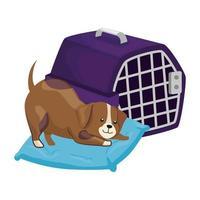 mignon chien dans un coussin et une boîte de transport vecteur
