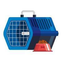 boîte de transport pour animaux de compagnie avec plat de nourriture pour chien vecteur