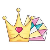 bijoux en diamant mignon avec icône isolé couronne vecteur