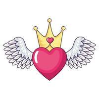 coeur mignon avec des ailes et icône isolé de la couronne