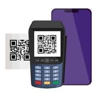 smartphone et dataphone avec scan code qr vecteur