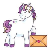 mignon fantaisie de licorne avec enveloppe vecteur