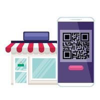 code qr à l'intérieur du smarpthone et de la conception de vecteur de magasin