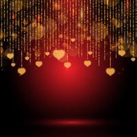 Valentin fond avec des coeurs suspendus
