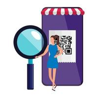 Scanner le code qr dans un smartphone avec femme d'affaires et loupe vecteur