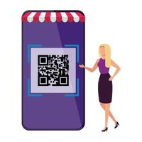 femme d & # 39; affaires et smartphone avec scan code qr vecteur