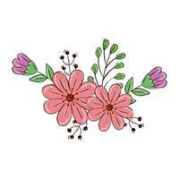 jolies fleurs avec des branches et des feuilles