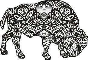 style d'art de ligne mandala vecteur animal