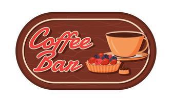 étiquette de vecteur de couleur plate bar à café